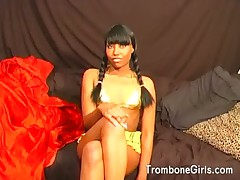 Guy gets a rimjob from a hot ebony girl