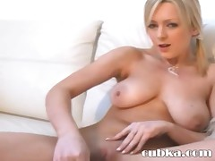 Sporty chick working with huge dildo