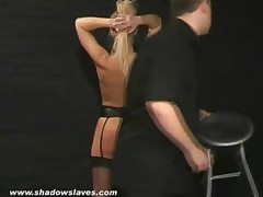 English Caning and Spanking of Bruised Blonde Slavegirl Crystel Lei