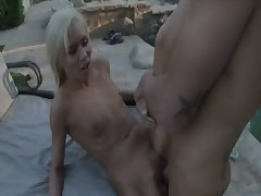 Beautiful blond outdoor sex by the pool