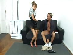 Nerdy secretary fucking in heels