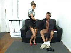Nerdy secretary fucking in heels