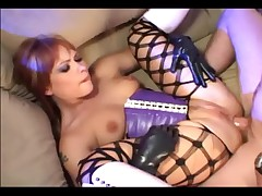 Anal in fencenet pantyhose and knee high boots