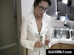 MILF in glasses eats dick in kitchen