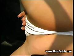 Horny redhead masturbates in car public place