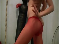 Amateur nylon pantyhose streching 20