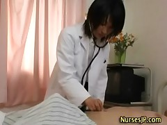 Woman japanese doctor with patient