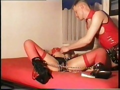 red lack rubber nylon girl hardcore play