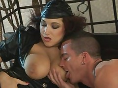 girl with huge natural tits in a uniform takes on two boys