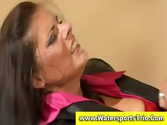 Golden shower couple get wet
