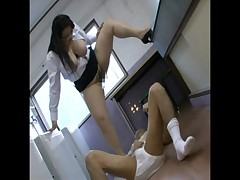 Asian mistresses pee in their slave 4