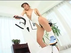 Japanese girl masturbates on a bike