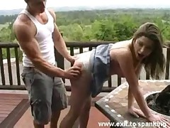 Cute Femke gets Ass Slapped outdoors