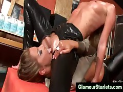 Glamorous clothed lesbians get oily