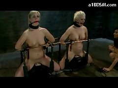 2 Blonde Girls Mouth Gags Tied To Fucking Machine Hit With Stick By Mistress In The Dungeon