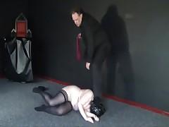 Depraved Hooded Leather Slavesluts Punished and Kicked in extreme amateur bdsm
