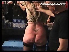 Public Whipping of mature European slavegirl at a fetish party
