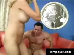 Horny big tit rimjob freak Angela railed by young cock