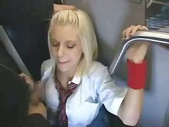 Blonde in bus get fucked hard