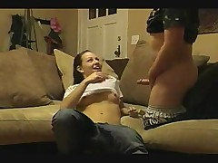 Amateur babe fucked on the couch