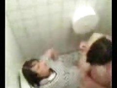 Couple caught fucking in public toilet