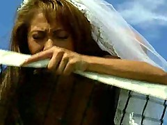 Dirty bride in tennis court fuck