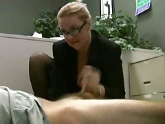 Employee gets masturbated by his horny lady boss