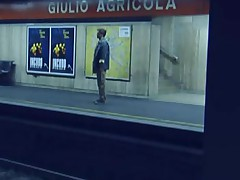 Girl gets herself off in train station
