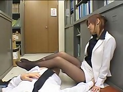 Japanese secretary handjob footjob in pantyhose