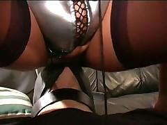 Mature dominatrix makes him worship her pussy