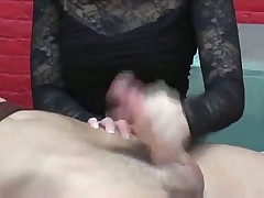 Bound man gets hot rough handjob