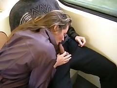 Brunette gives bus ride blowjob