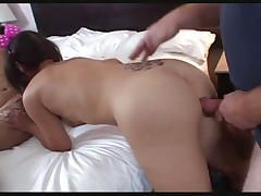 Teen with pigtails threesome cream pie