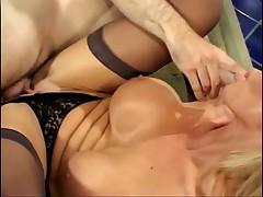 Lustful blonde babe in stockings banged hard