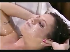 Huge bukkake mess and cumshots in the mouth