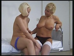 Hot blondes fuck each other by legs