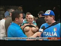 Hot chick, hot boobs... makes for great news reporting