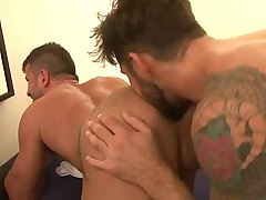 Tatooed hairy bearded ARAB studs lick, rim, suck, 69