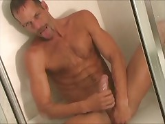 Michael Brandon strokes his Monster in shower