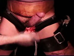 Bound dude cums while balls are being punched during an