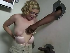 Penny Pax sexy blonde in glasses at the gloryhole