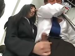 Asian handjob in bus
