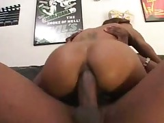 Skinny black chick with hairy cunt goes anal