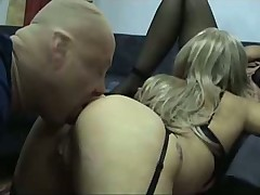 Busty blondes with their ass licking slave at home!