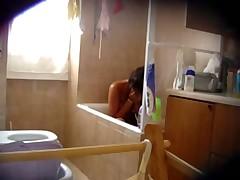 Hairy girl in bath - hidden cam