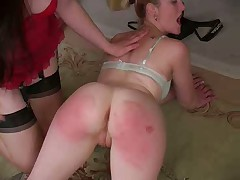 The chicks are spanked enough that their asses turn red