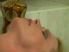 Lonely blonde misses real cock