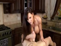 Really hot MILF with big boobs fucks in kitchen