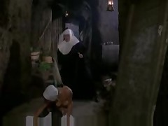Nun playing with guest then spanked by the mother -