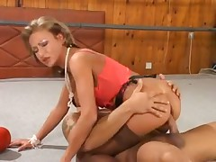 Anal in the boxing ring with stockings slut